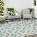 Safavieh Indoor/ Outdoor Courtyard Grey/ Blue Rug (8' x 11')