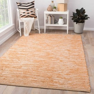 Naturals Solid Pattern Beige/Brown Jute and Polyester Area Rug (8x10)