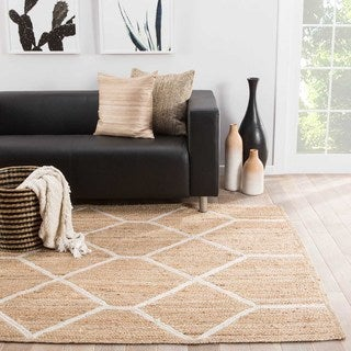 Naturals Tribal Pattern Natural/Ivory Jute Area Rug (8x10)