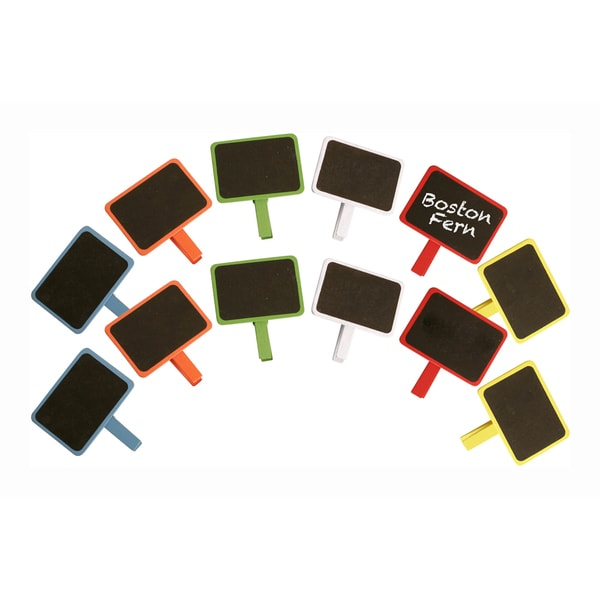 Assorted Colors Painted Wood Chalkboards with Clothespin Clip - Set of 12