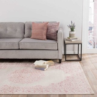 Classic Medallion Pattern Ivory/Pink Rayon Chenille Area Rug (2x3)