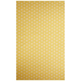 Flatweave Tribal Pattern Yellow/Ivory Cotton Area Rug (2x3)