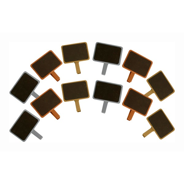 Assorted Colors Painted Wood Chalkboards with Clothespin Clip and 1 Chalkboard Pen - Set of 12, Gold, Chrome and Copper