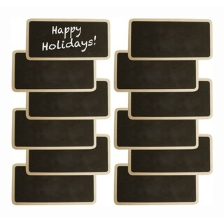 Wald Imports Natural Wood Chalkboards with Clothespin Clip and 1 Chalkboard Pen - Set of 12, Size: 6 x 3 in