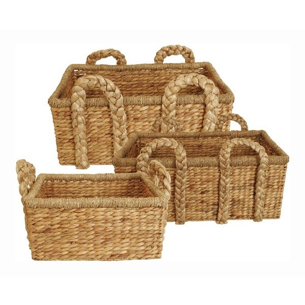 Rectangle Seagrass and Water Hyacinth Home Dcor Baskets - Set of 3, Natural