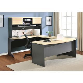 Altra Benjamin Grey/ Natural U-Shaped Desk with Hutch Bundle