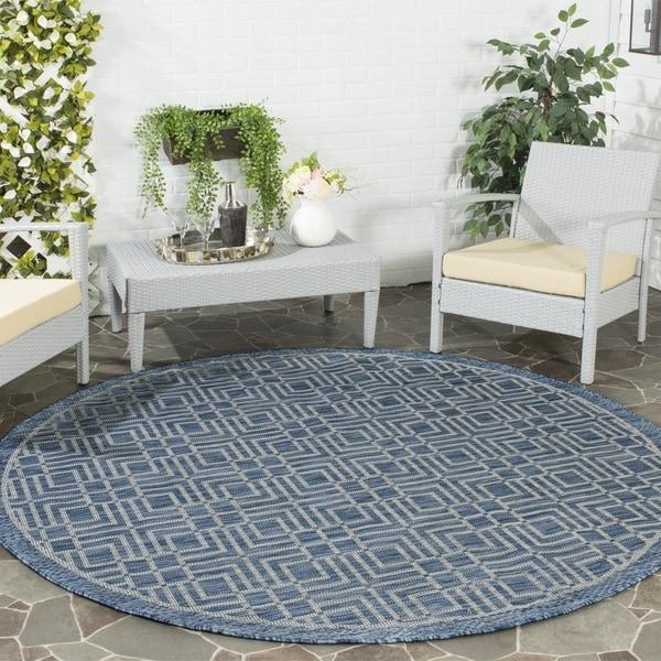Safavieh Indoor/ Outdoor Courtyard Navy/ Grey Rug (6'7 x 6'7 Round)