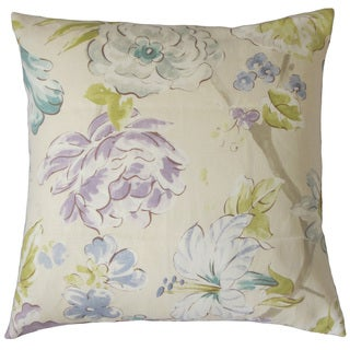 Niahtosa Floral Down and Feather Filled Linen 18-inch Throw Pillow