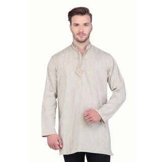 In-Sattva Shatranj Men's Indian Mid-Length Kurta Tunic Fine Embriodered Banded Collar Shirt