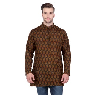 In-Sattva Shatranj Men's Indian Mid-Length Banded Collar Exotic Print Kurta Tunic Shirt
