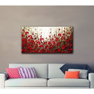 ArtWall Susanna Shaposhnikova's Olive Red Poppies, Gallery Wrapped Canvas