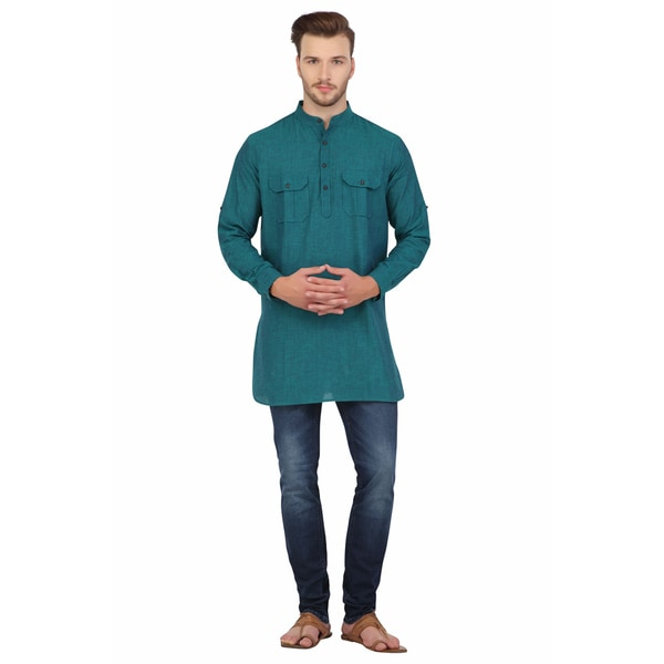 In-Sattva Shatranj Men's Indian Mid-Length Banded Collar Two Pocket Kurta Tunic Shirt