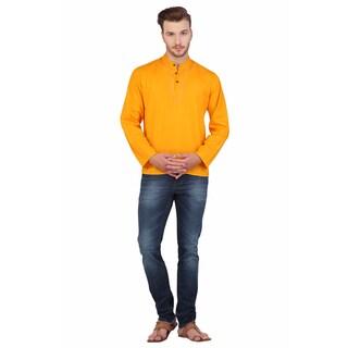 In-Sattva Shatranj Men's Indian Tunic Fine Embriodered Placket Short Kurta Shirt