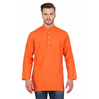 In-Sattva Shatranj Men's Indian Mid-Length Banded Collar Pin Tucked Kurta Tunic Shirt