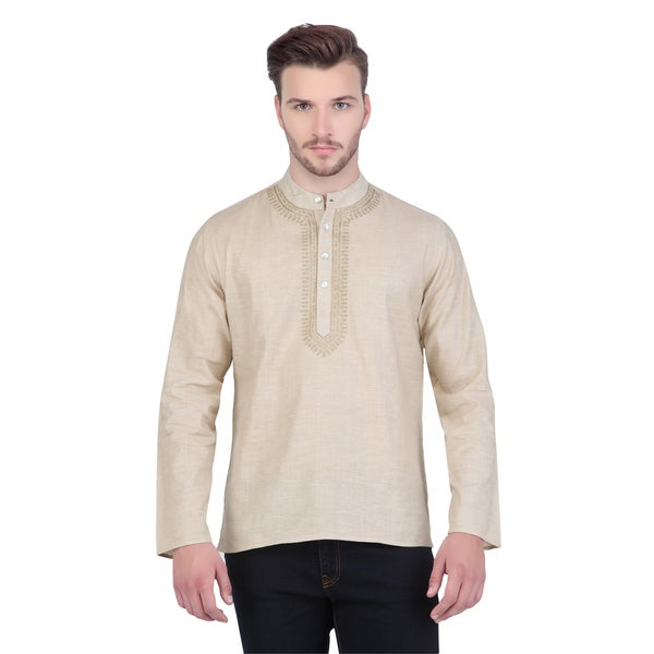 In-Sattva Shatranj Men's Indian Short Fine Embriodered Placket Kurta Tunic Shirt