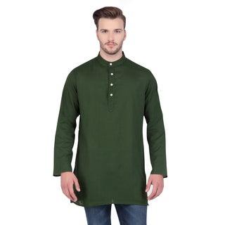 In-Sattva Shatranj Men's Indian Banded Collar Thin Striped Kurta Tunic Shirt