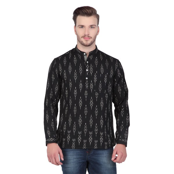 In-Sattva Shatranj Men's Indian Short Ikat Print Banded Collar Kurta Tunic Shirt