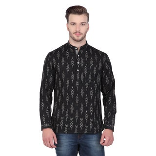 In-Sattva Shatranj Men's Indian Short Ikat Print Banded Collar Kurta Tunic Shirt