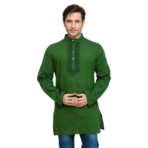 In-Sattva Shatranj Men's Indian Mid-Length Fine Embriodered Placket Solid Kurta Tunic Shirt