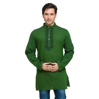 In-Sattva Shatranj Men's Indian Mid-Length Fine Embriodered Placket Solid Kurta Tunic Shirt