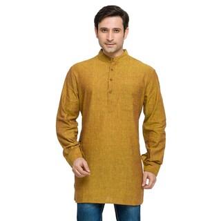 In-Sattva Shatranj Men's Indian Banded Collar Solid Kurta Tunic Shirt