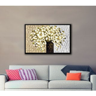 ArtWall Susanna Shaposhnikova's White Bouquet 2, Gallery Wrapped Floater-framed Canvas