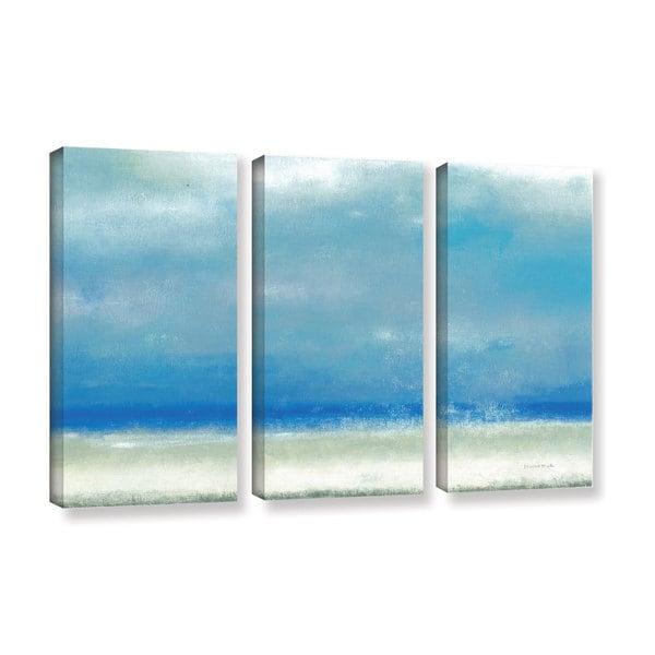 ArtWall Norman Wyatt JR's Blue Horizon 1, 3 Piece Gallery Wrapped Canvas Set