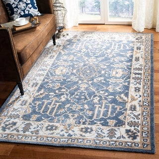 Safavieh Hand-knotted Stone Wash Blue/ Ivory Wool Rug (4' x 6')