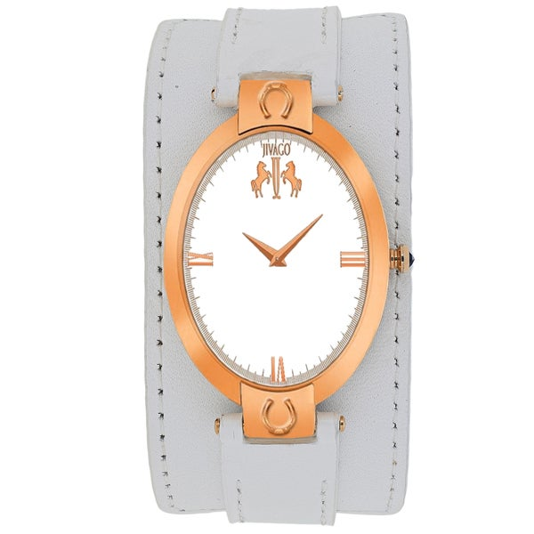 Jivago Women's JV1833 Good luck Oval White Leather Strap Watch