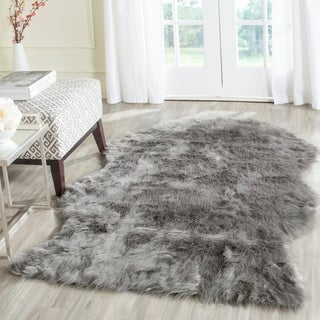 Safavieh Handmade Faux Sheep Skin Dark Grey Acrylic Rug (3' x 5')