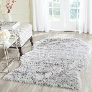 Safavieh Handmade Faux Sheep Skin Light Grey Acrylic Rug (4' x 6')