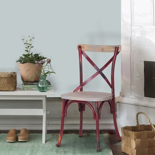 Adeco Metal Chair with Cross-style Back