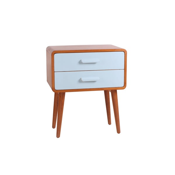 Emorie Double-Drawer Mid-Century End Table