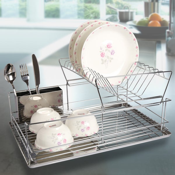 Space Saving 2-tier Chrome Finish Dish Drying Rack