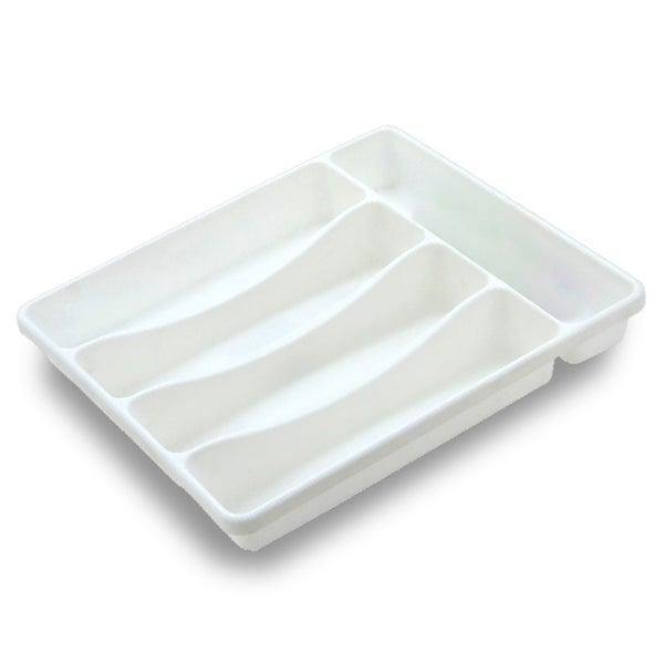 White Plastic 5 Compartment Cutlery Tray