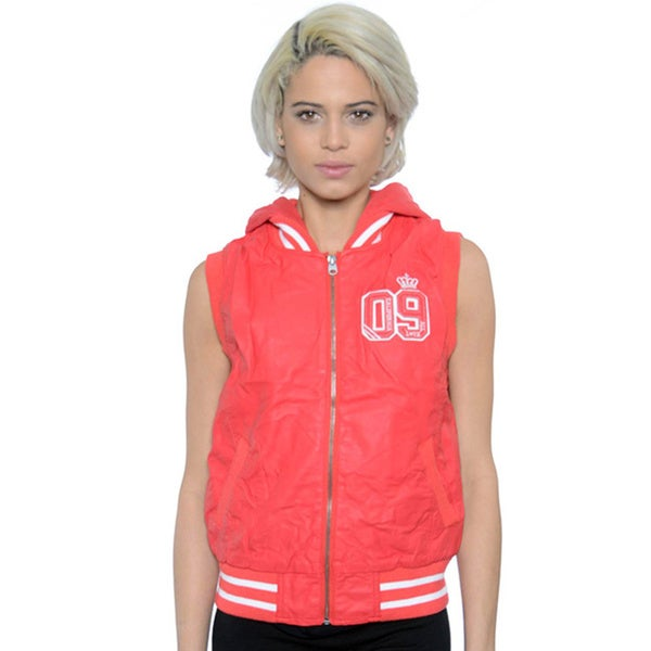 Women's Varsity Hooded PU Vest