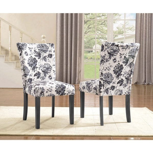 Sally Upholstered Grey Flower Print Dining Side Chair Set