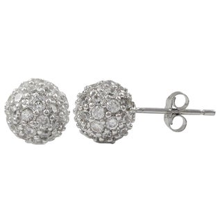 Luxiro Sterling Silver Pave Cubic Zirconia Ball Stud Earrings