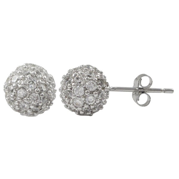 Luxiro Sterling Silver Pave Cubic Zirconia Ball Stud Earrings 17044375