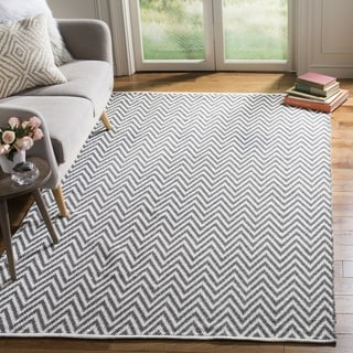 Safavieh Hand-Woven Montauk Grey/ Ivory Cotton Rug (5' x 7')
