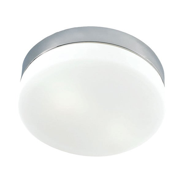 Alico Disc LED 1 Light Flush mount In Metallic Grey And White Opal Glass - Grande