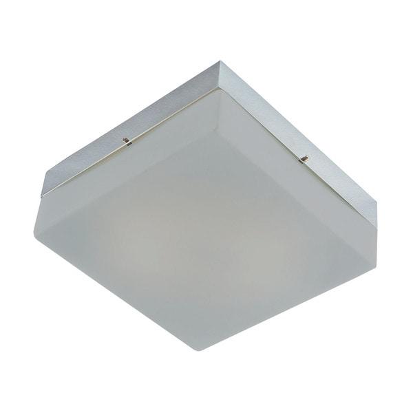 Alico Quad 2 Light Flush mount In Metallic Grey And White Opal Glass