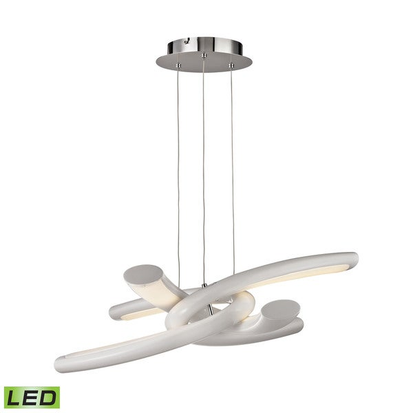 Alico Knot 36 Watt LED Pendant In Chrome With White Lens