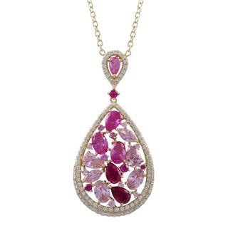 Gold Finish Sterling Silver Lab-created Gemstone Teardrop Pendant Necklace