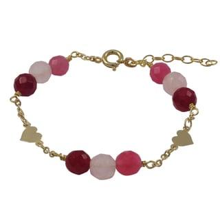 Gold Filled Pink Semi-precious Gemstone Children's Heart Bracelet