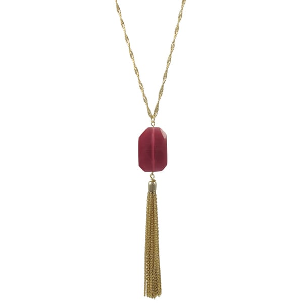 Gold Finish Fuchsia or Grey Translucent Stone Tassel Pendant Necklace
