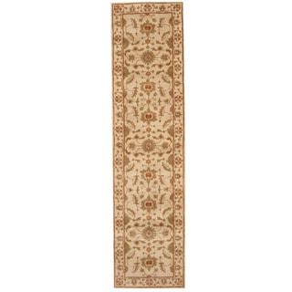 Herat Oriental Indo Hand-tufted Mahal Beige/ Green Wool Runner (3' x 12')