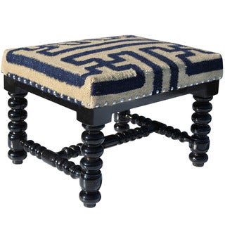 Herat Oriental Indo Cotton & Wool Upholstered Wooden Footstool