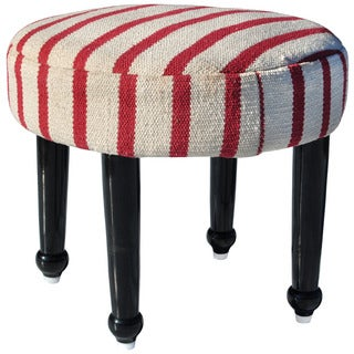 Herat Oriental Indo Cotton-Upholstered Wooden Footstool