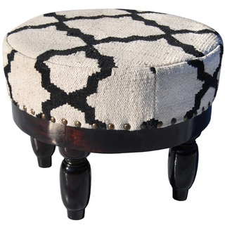 Herat Oriental Indo Cotton-Upholstered Wooden Round Footstool